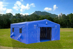 Blue inflatable militarytent