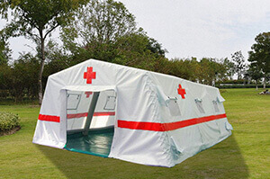 Inflatable tent for  red cross