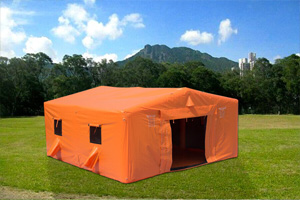 Orange inflatable medical tent